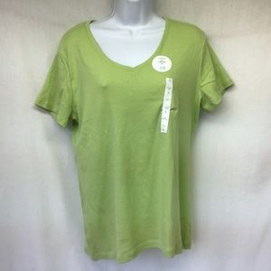 Croft&Barrow Women Tee Top Green V Neck L